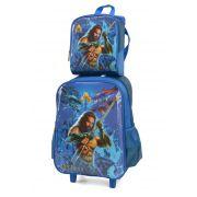 Kit Mochila Rodinha + Lancheira Aquaman Azul Original