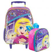 Kit Mochila Rodinha + Lancheira Polly Pocket Rosa Original