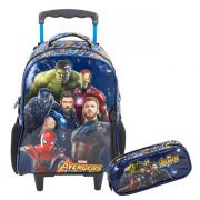Kit Mochila Rodinhas Avengers Vingadores 3D +Estojo Original