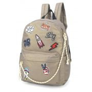 Mochila Escolar Up4you Patchwork Canvas Tumblr Cinza Patches