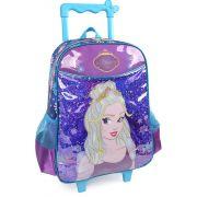 Mochila de Rodinhas Infantil Escolar Brilho Azul Princess