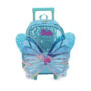 Mochila Rodinha Borboleta 3D Mochilete Barbie Azul Original