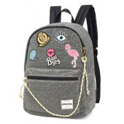 Mochila Up4You Bottons Flamingo Cinza Produto Original