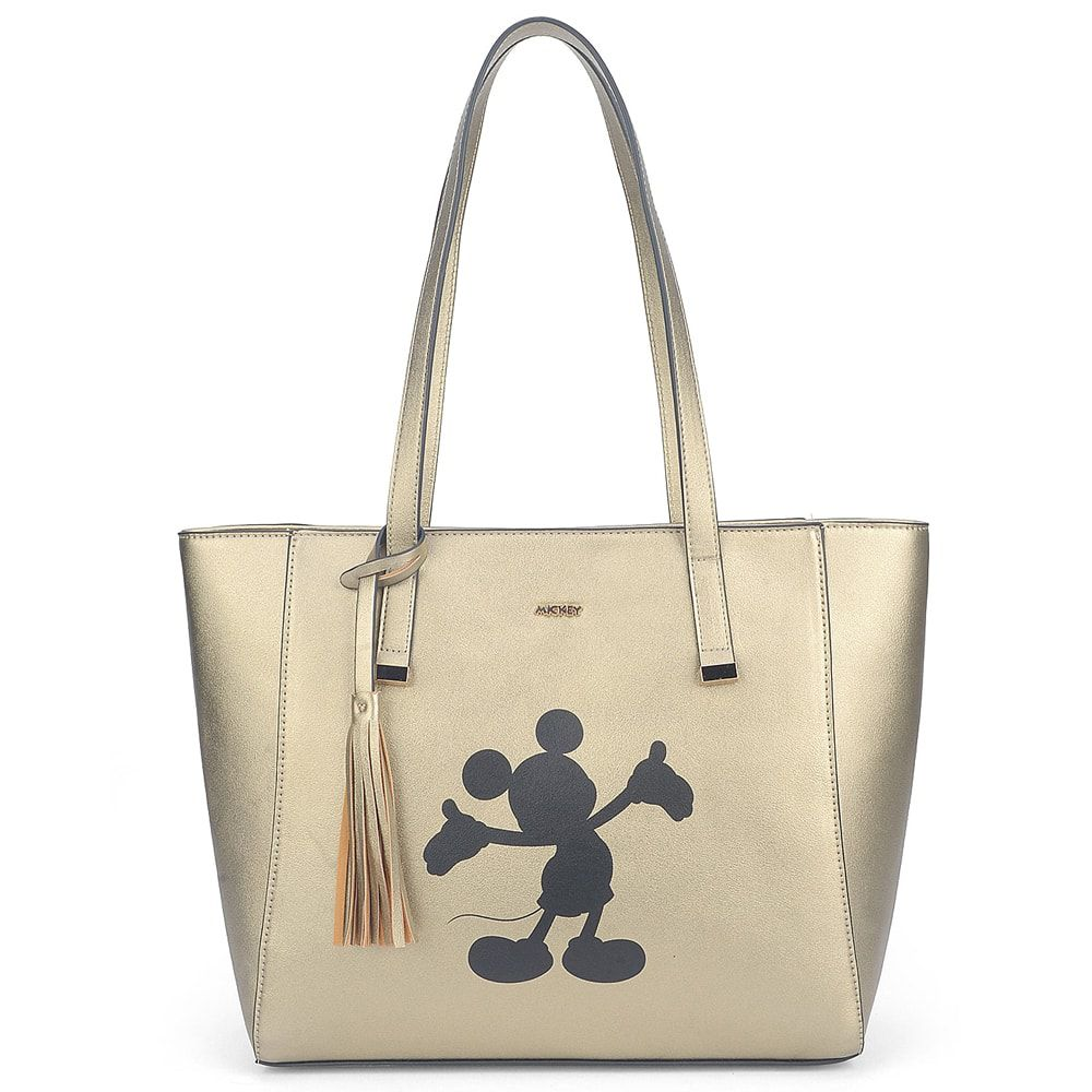 Bolsa de Ombro Disney Mickey Mouse Franjinha Ouro Dourado