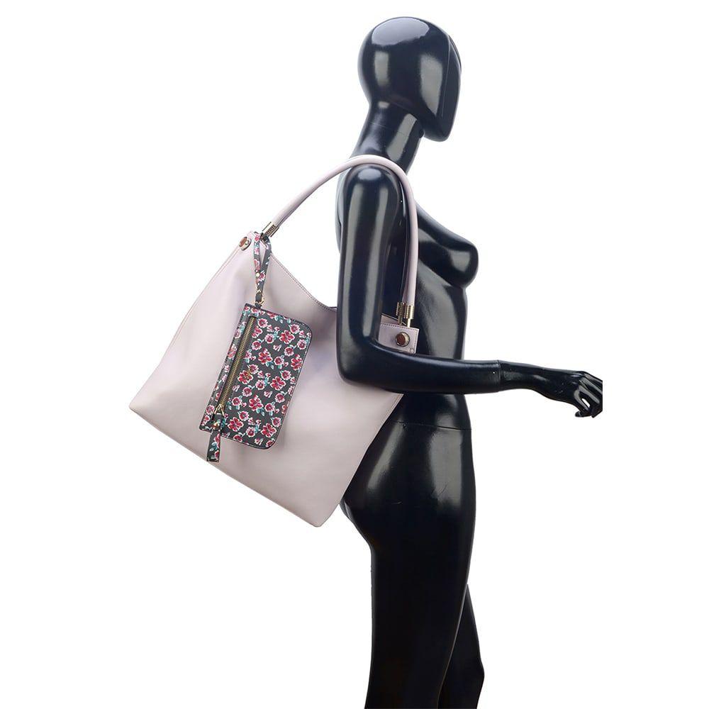 Bolsa de Ombro Grande Transversal Gash + Necessaire Nude Rosa
