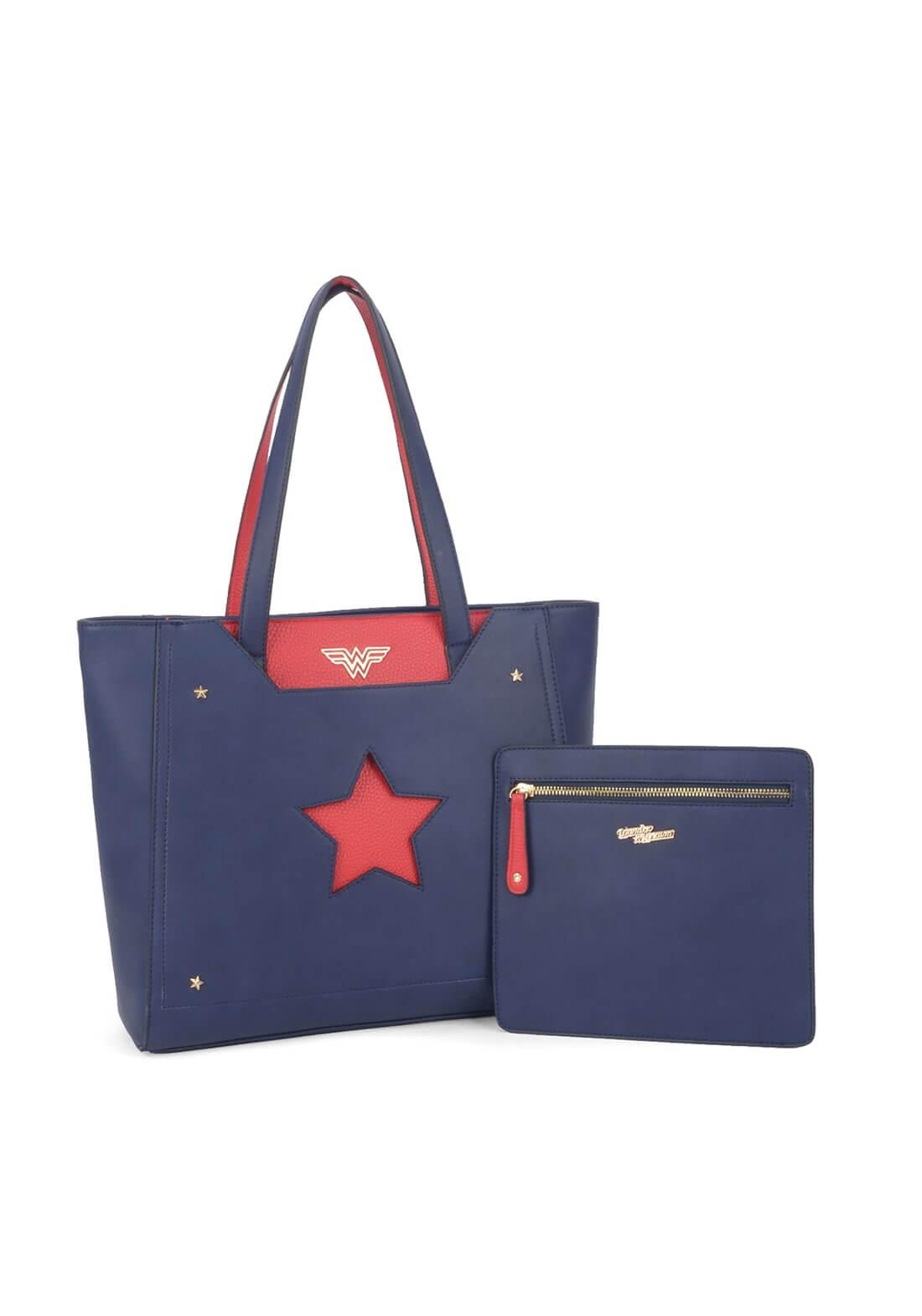 Bolsa de Ombro Wonder Woman Mulher Maravilha Star Necessaire Azul Vermelho