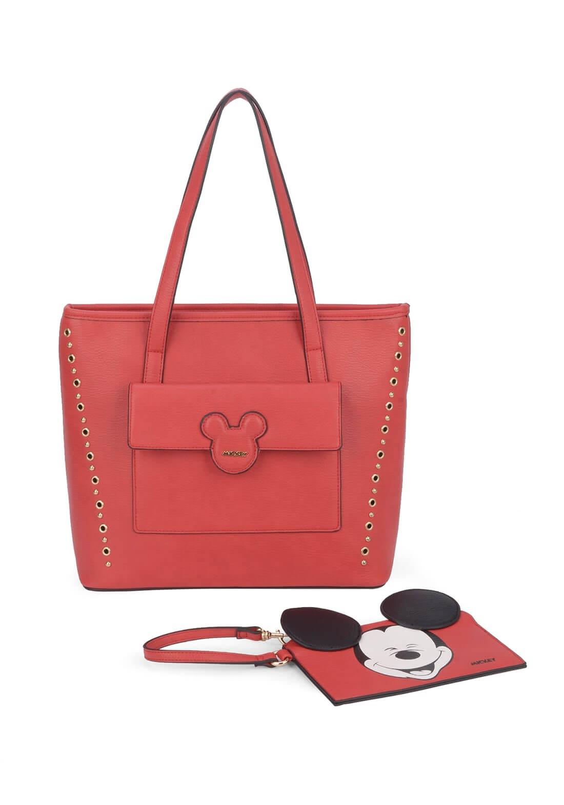 Bolsa Mickey Vermelha Disney Tote  Com Necessaire Original