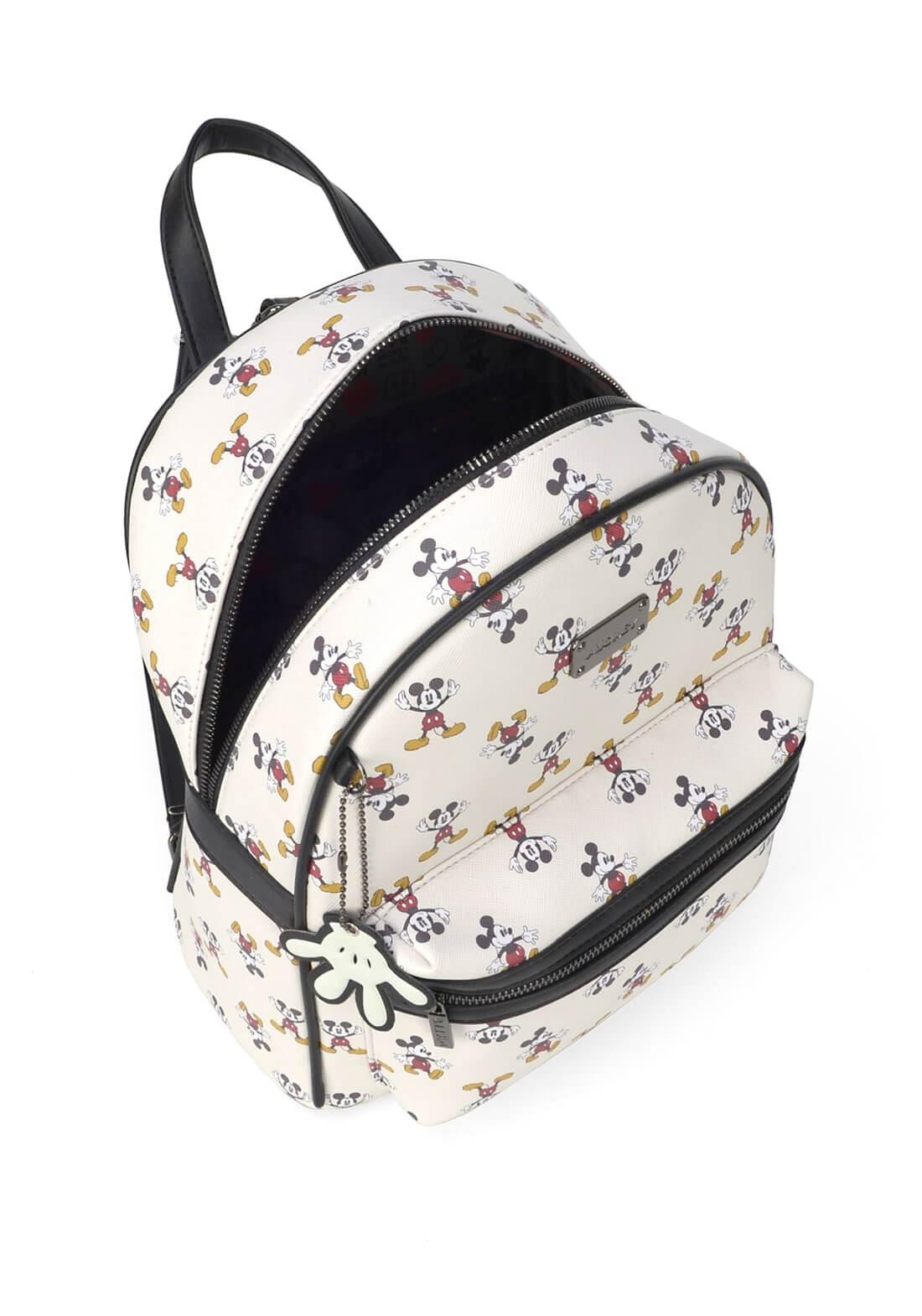 Bolsa Mochila Couro Sintético Mickey Mouse Branca Original