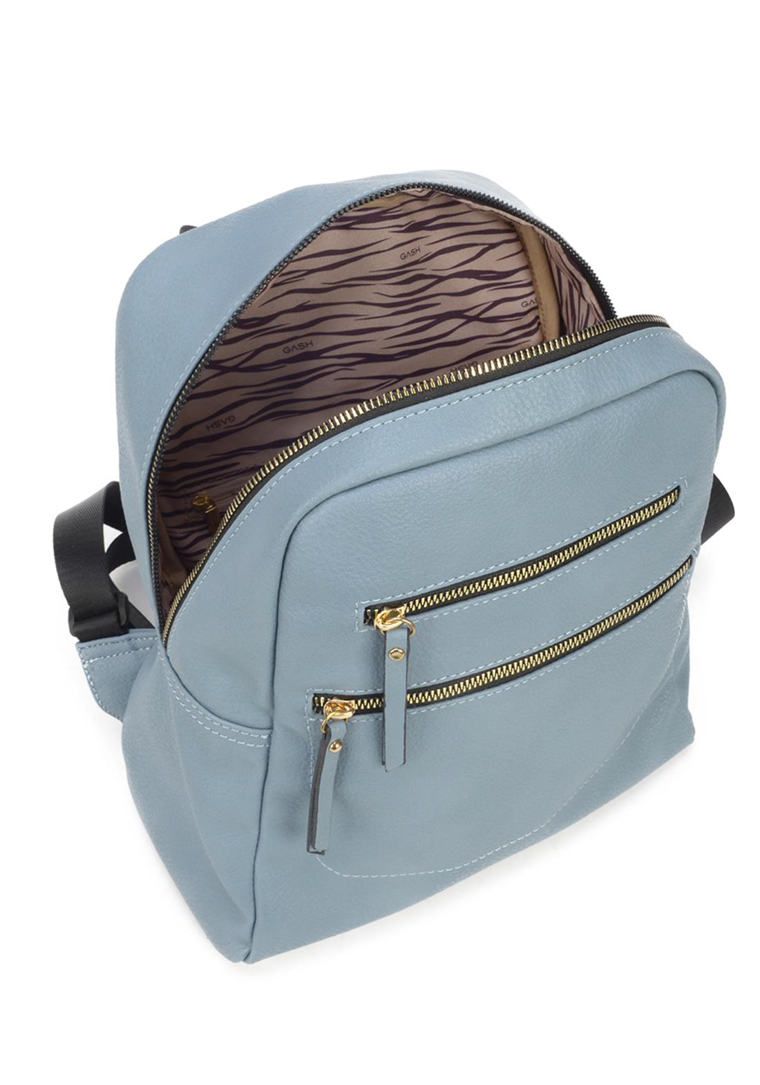 Bolsa Mochila Feminina Gash Azul Couro Sintetico Original