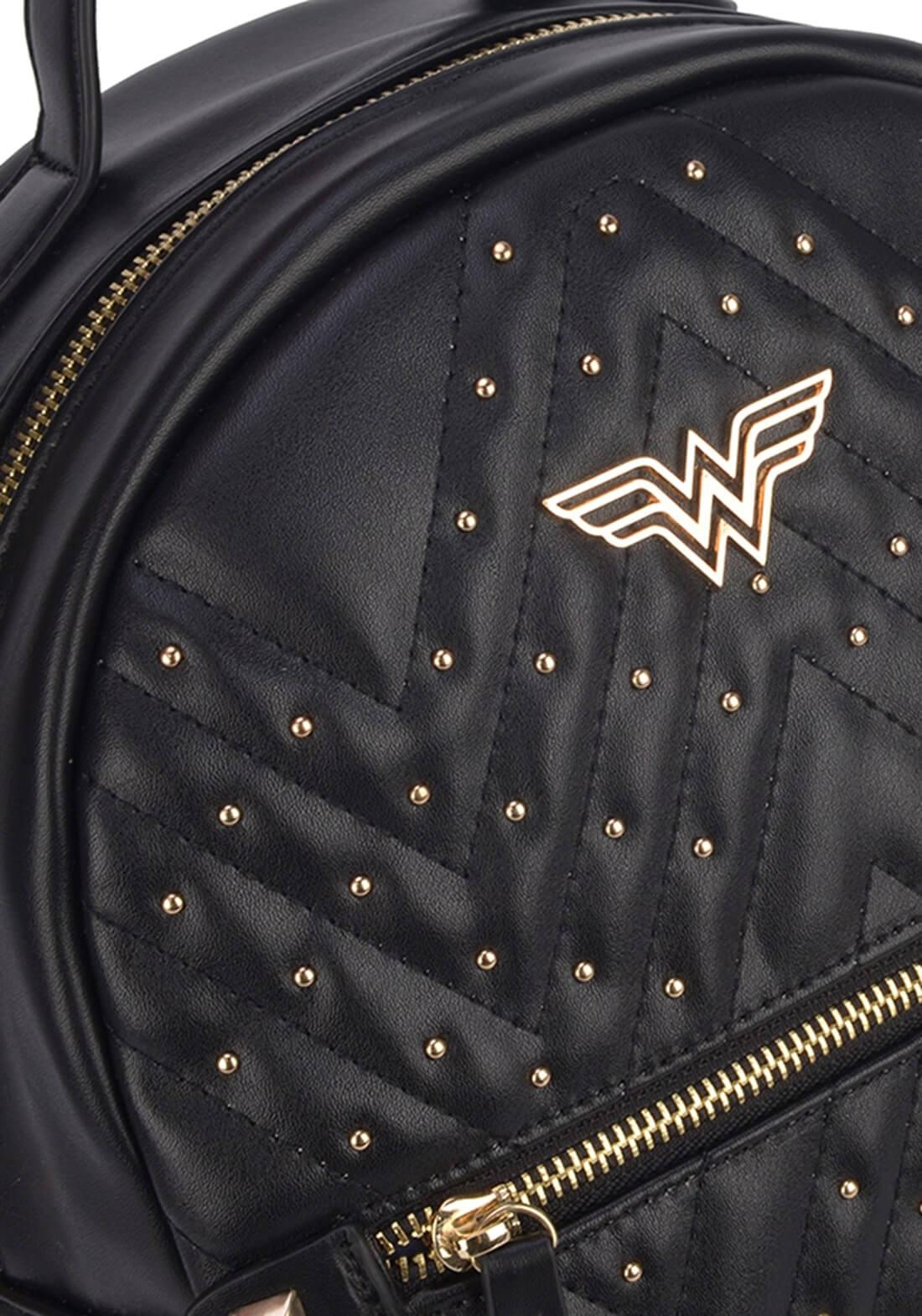 Bolsa Mochila Wonder Woman Mulher Maravilha Taxas  Preta