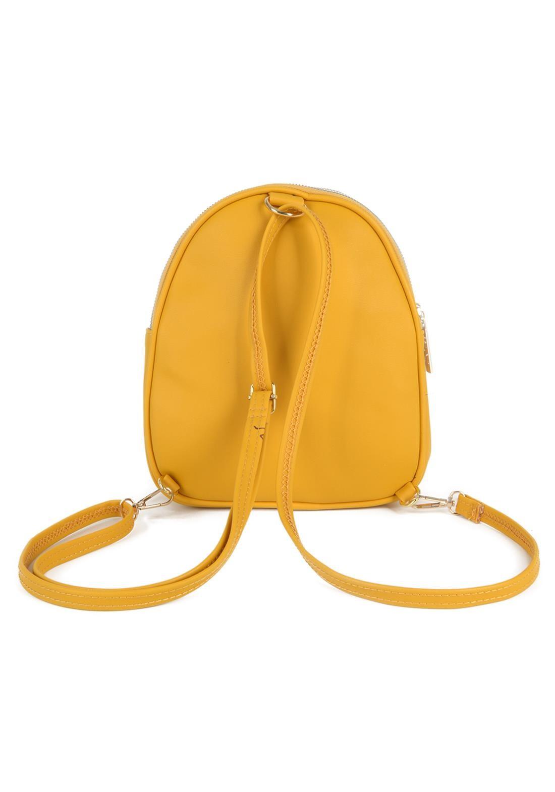 Bolsa Mochilinha Feminina  de Costas Gash Amarelo Original