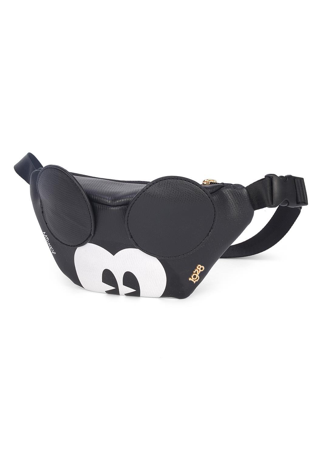 Bolsa Pochete Mickey Mouse Preta Disney Original