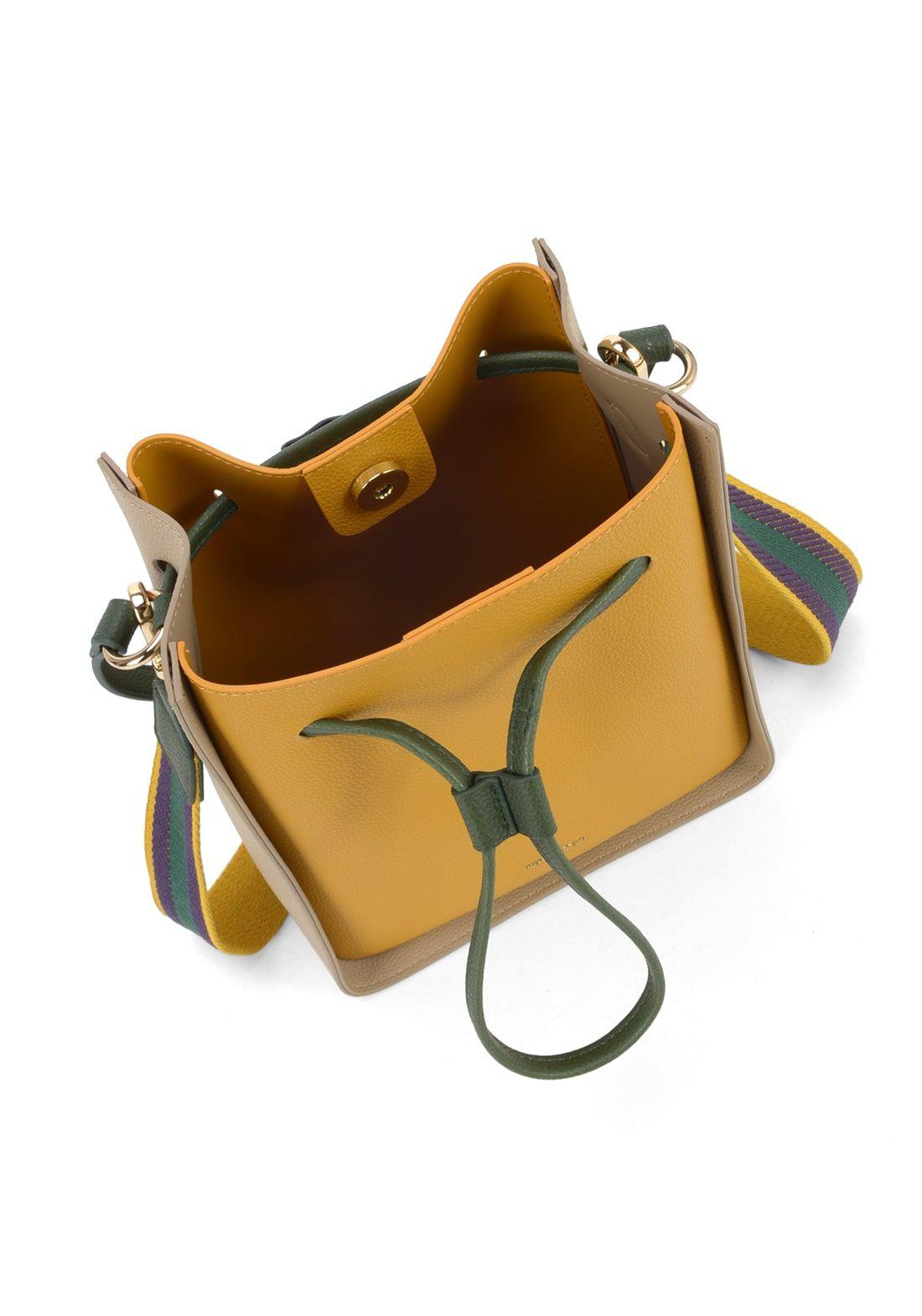 Bolsa Up4you Transversal Listras Amarela Mostarda Original