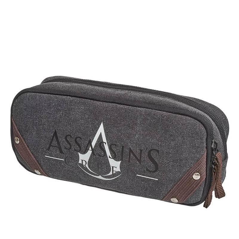 Estojo Duplo Assassins Creed Necessaire Cinza Original