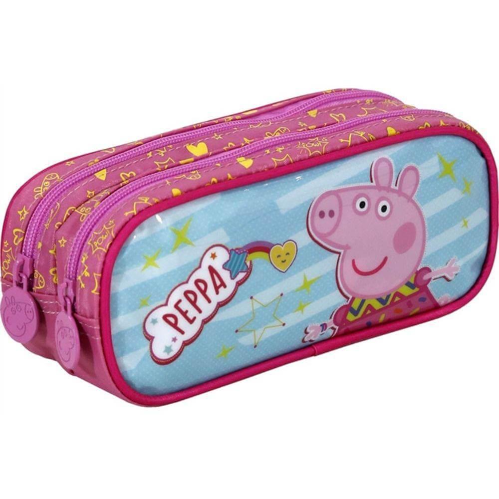 Estojo Duplo Peppa Pig Original Rosa NF Garantia