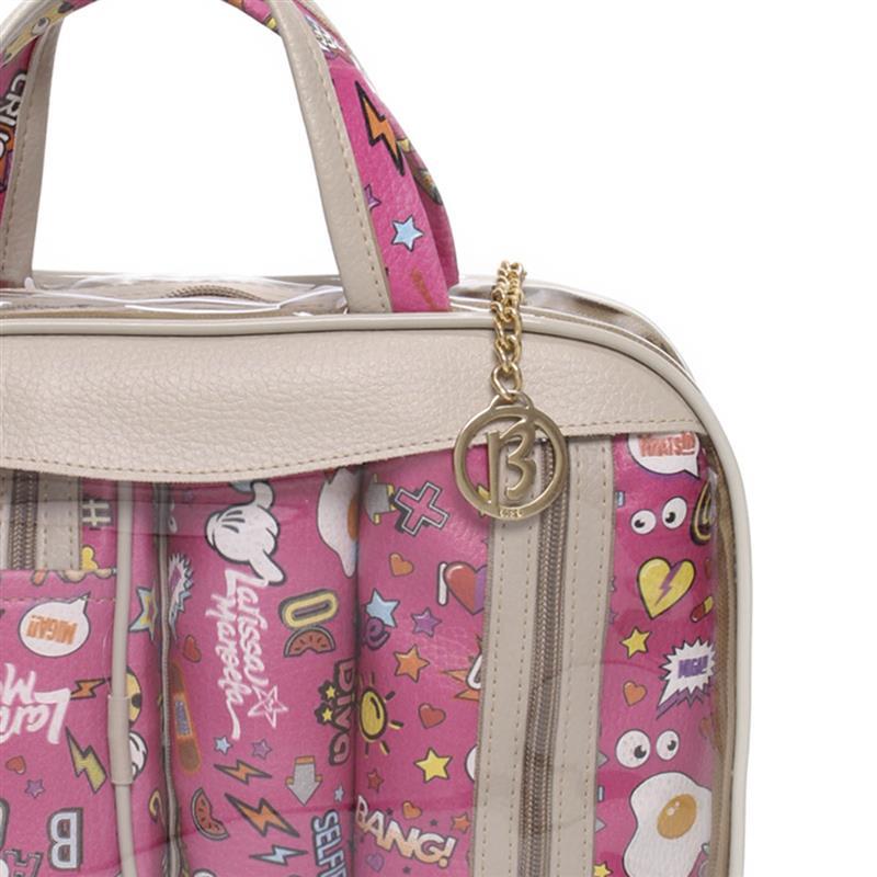 Kit 3 Necessaires Larissa Manoela Bolsa Maleta Stickers  Transparente e Pink