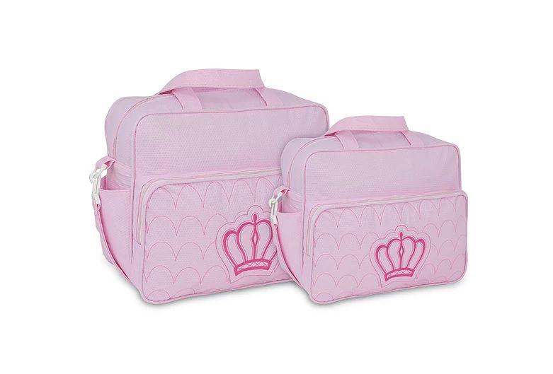 Kit Bolsa Maternidade Bebe Menina Rosa Luxo Coroa M e G