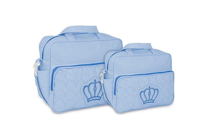 Kit Bolsa Maternidade Bebe Menino Azul Luxo Coroa M e G