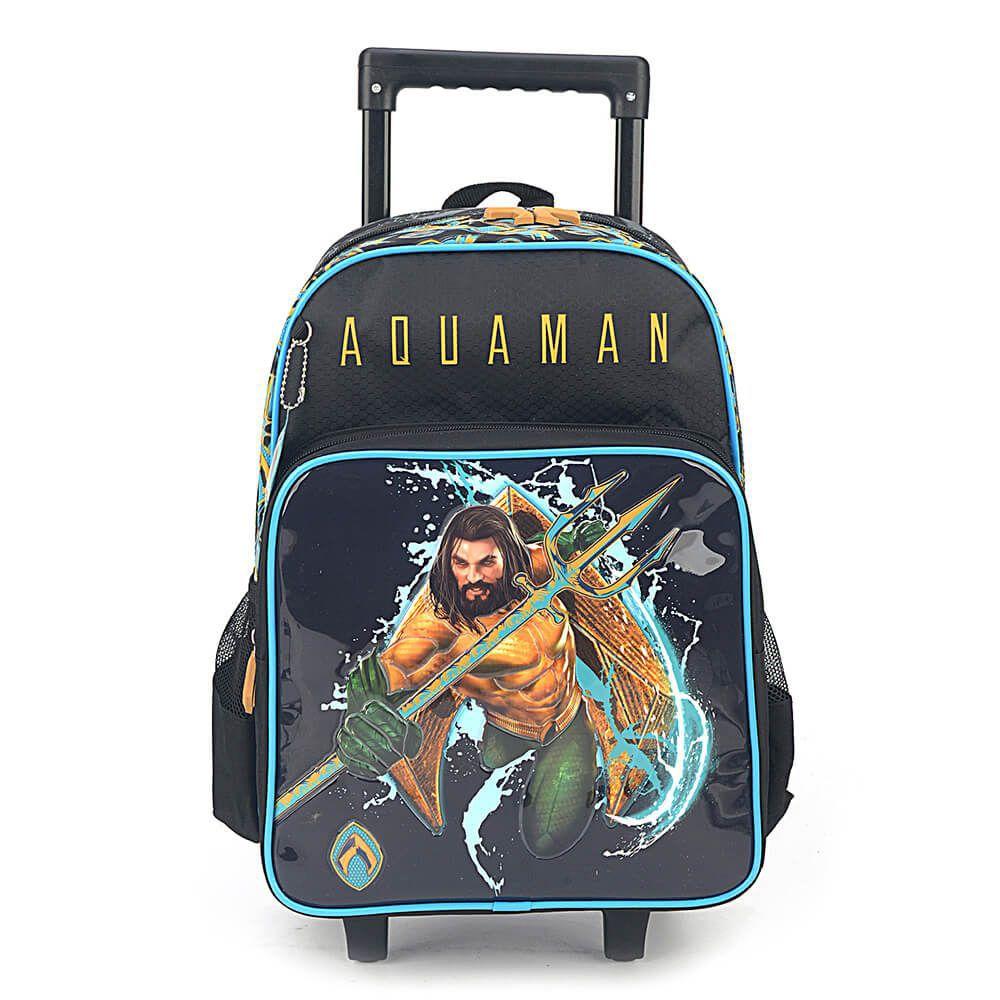 Kit Escolar Mochila com Rodinhas e Lancheira Térmica Aquaman
