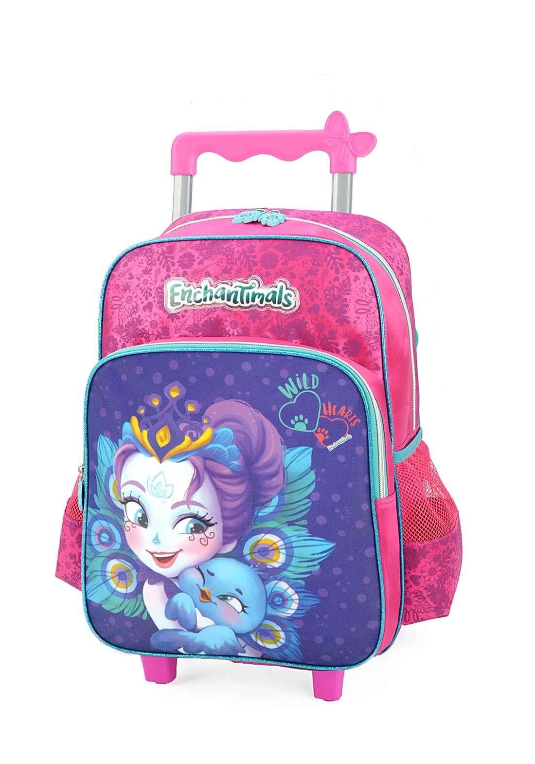 Kit Escolar Mochila de Rodinha + Lancheira Enchantimals Pink