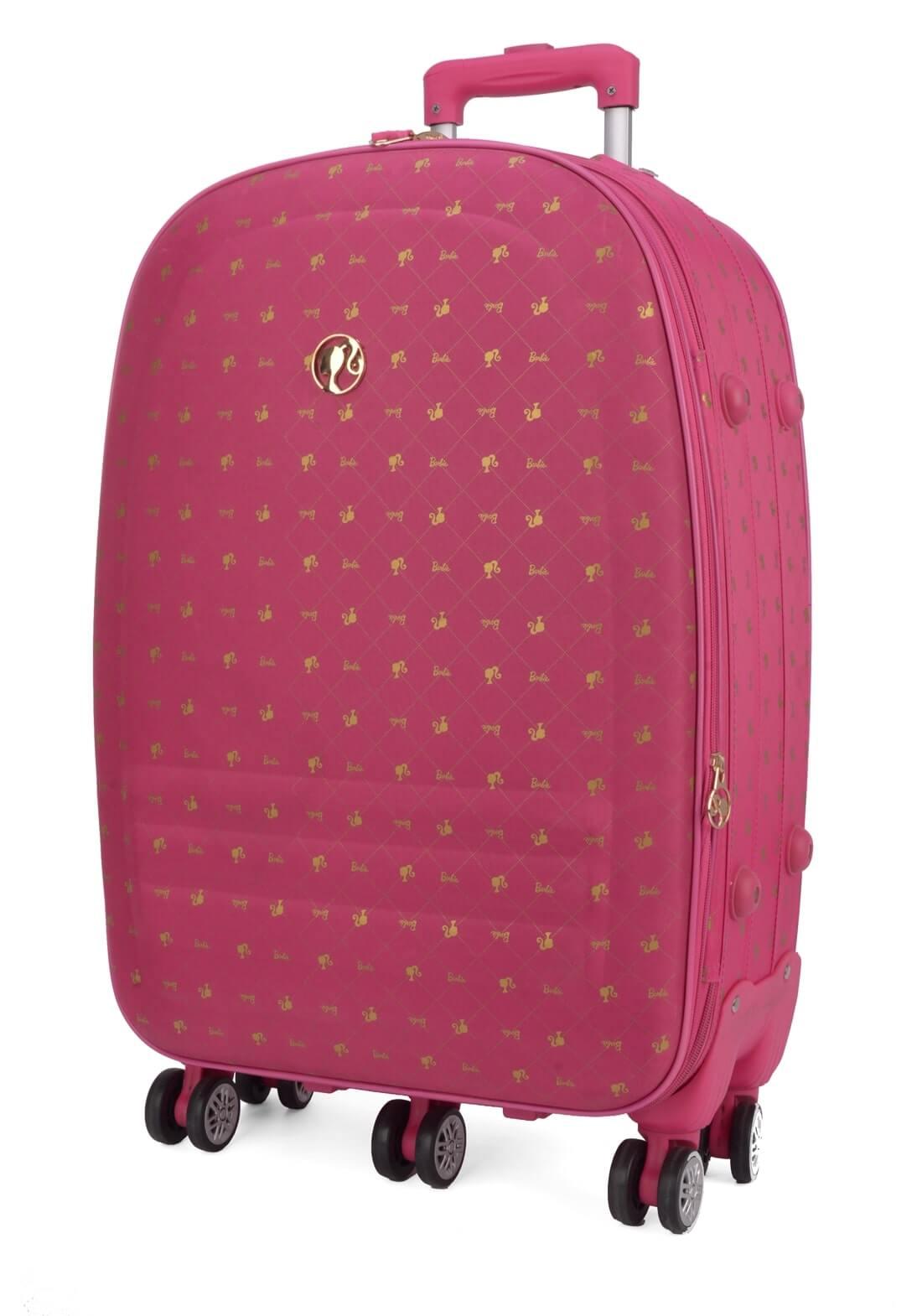 Kit Mala Viagem Barbie P e M Rodas Duplas 360 Rosa Pink