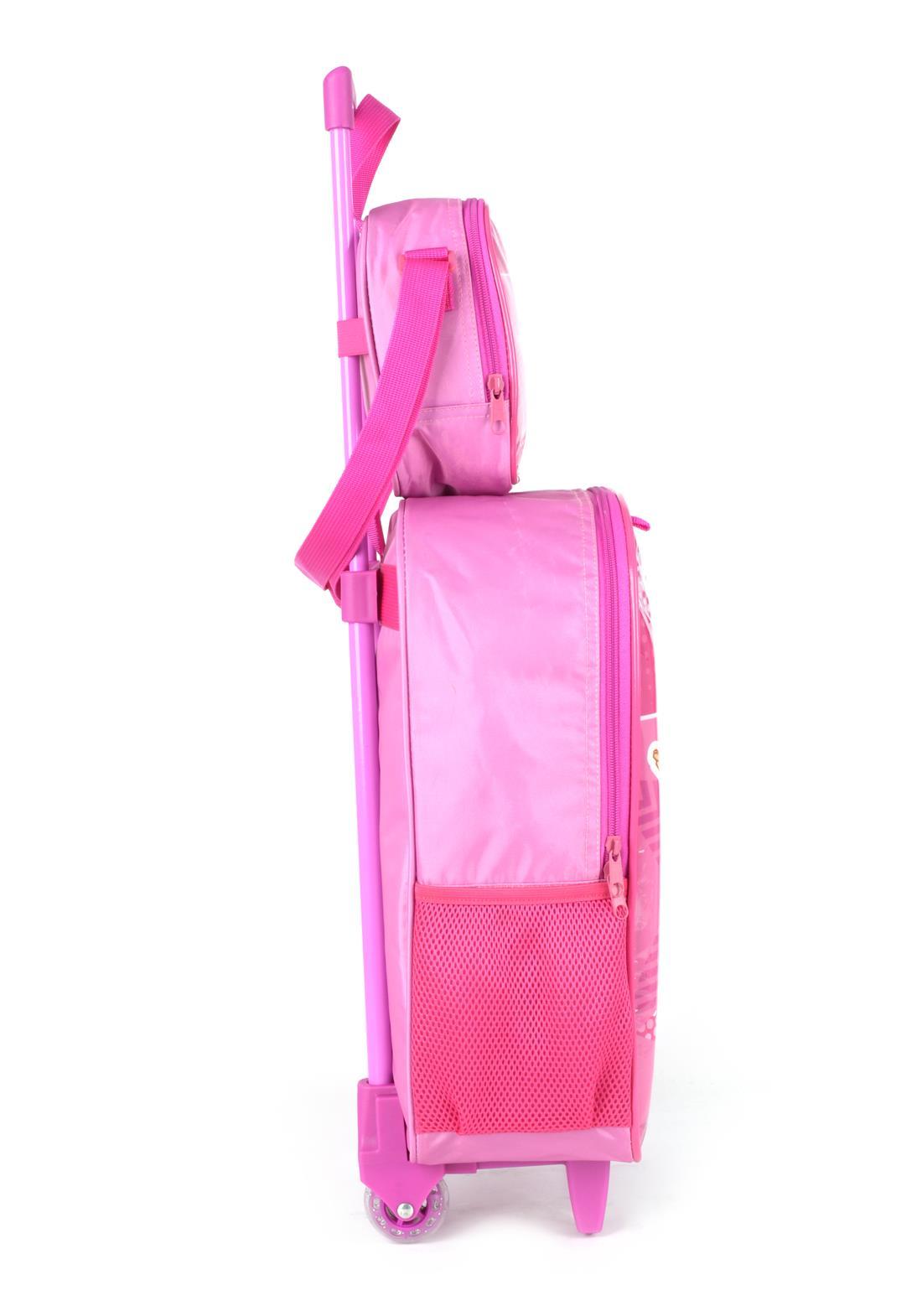 Kit Mochila Com Rodinhas e Lancheira Moranguinho Pink