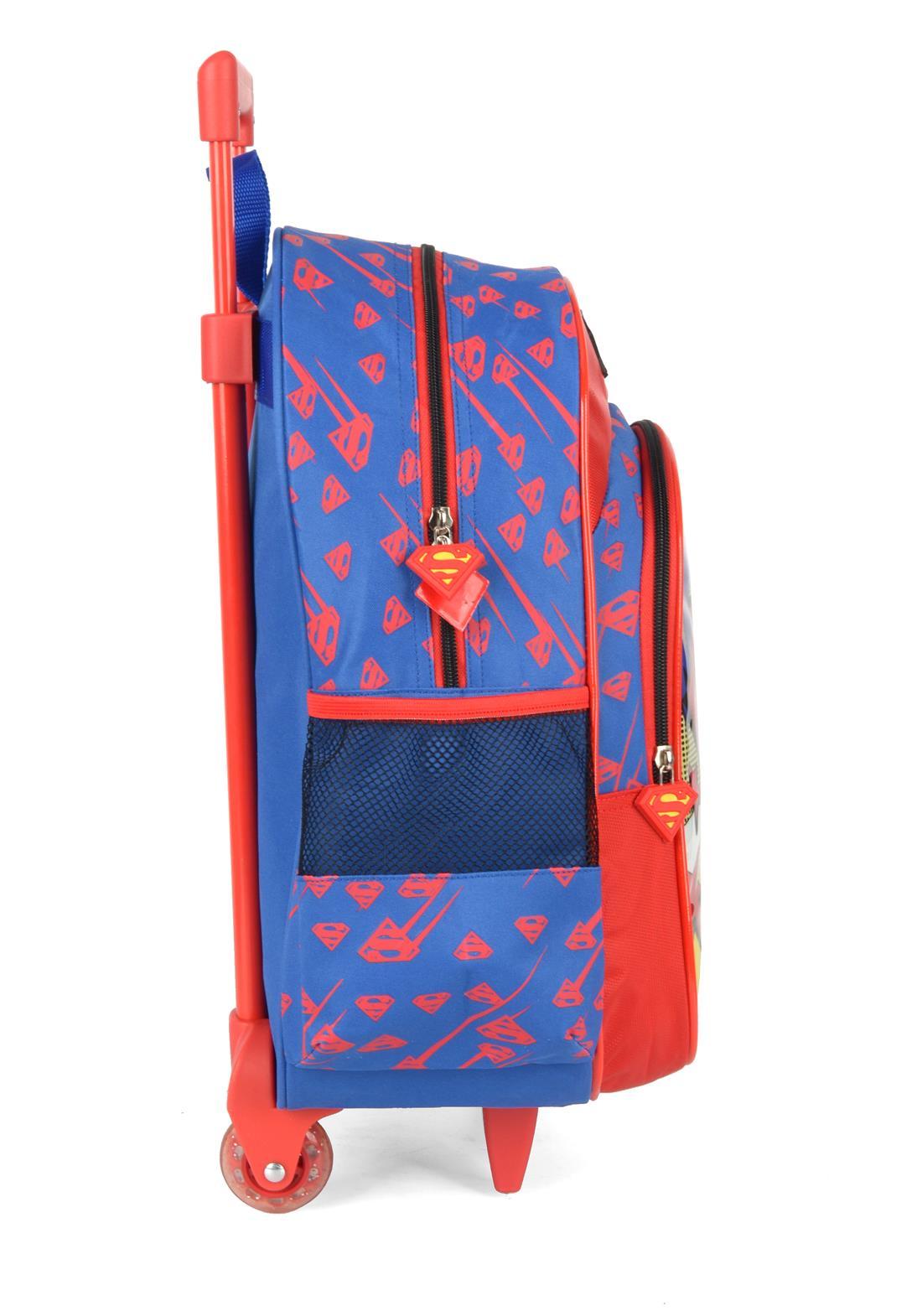 Kit Mochila Com Rodinhas e Lancheira Superman Azul