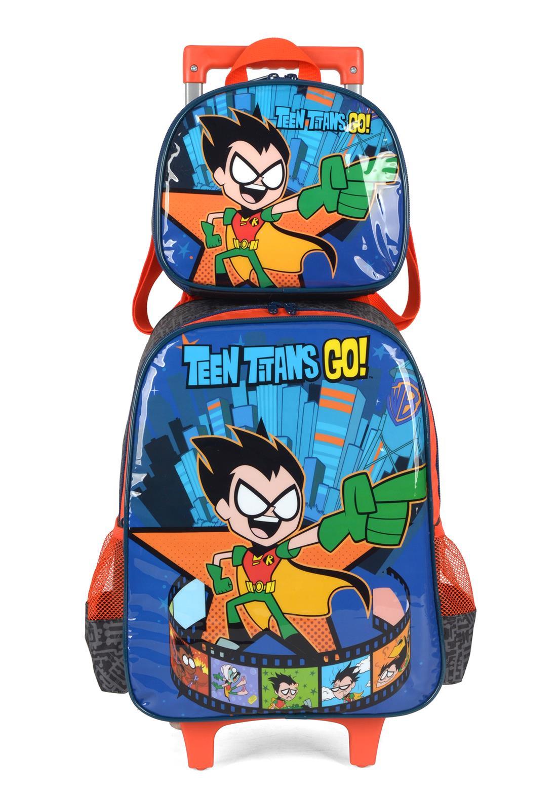 Kit Mochila Com Rodinhas Lancheira Teen Titans Jovens Titãs