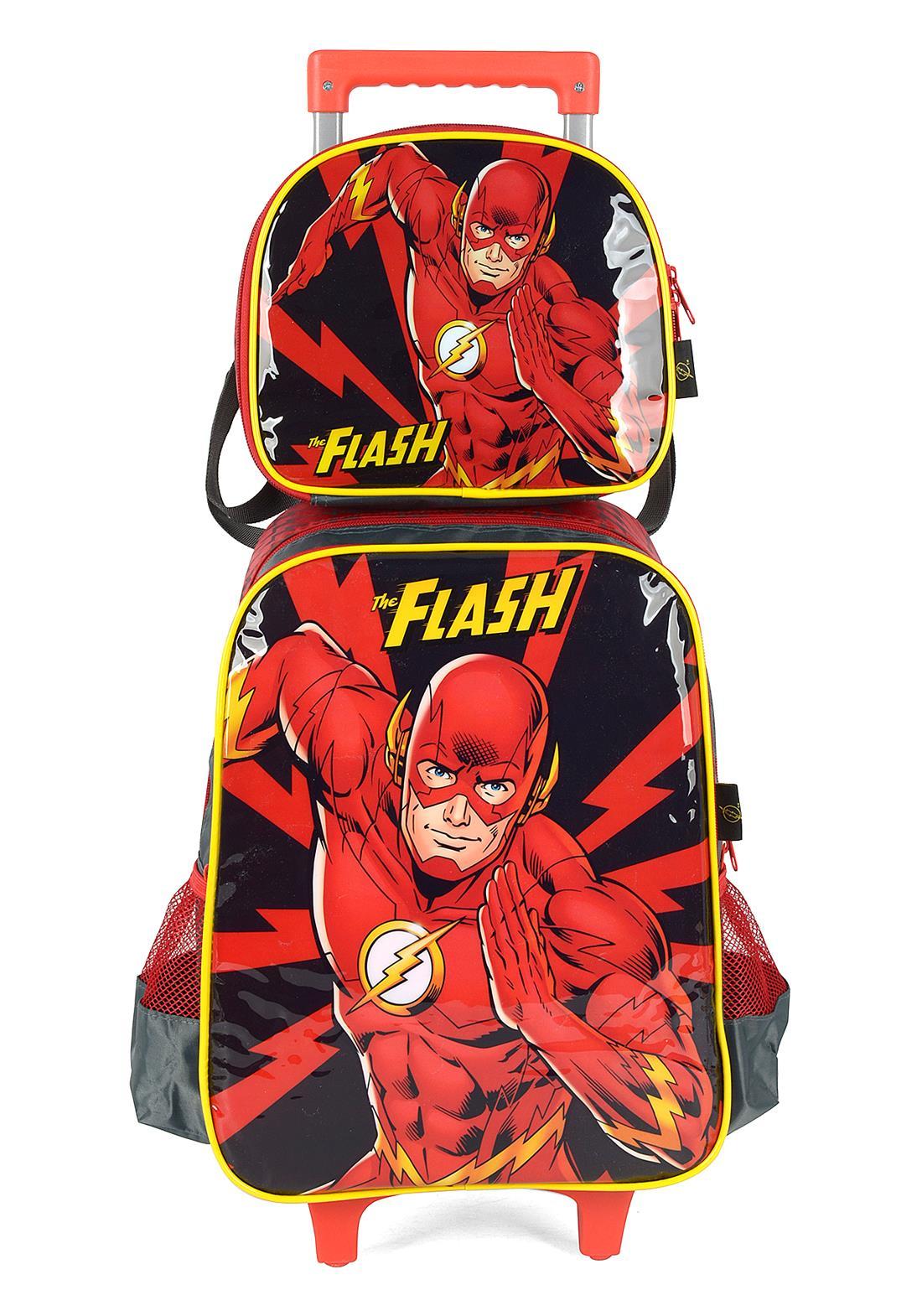 Kit Mochila Com Rodinhas + Lancheira The Flash Vermelho