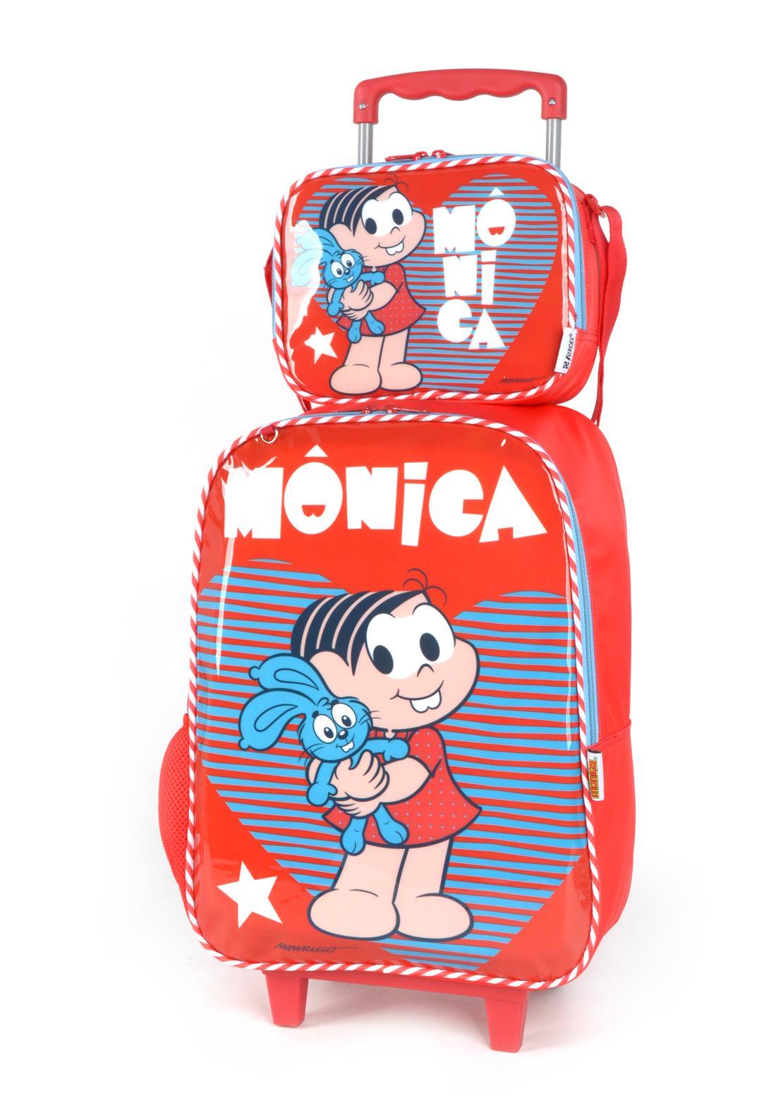 Kit Mochila Com Rodinhas Lancheira Turma da Monica Vermelho