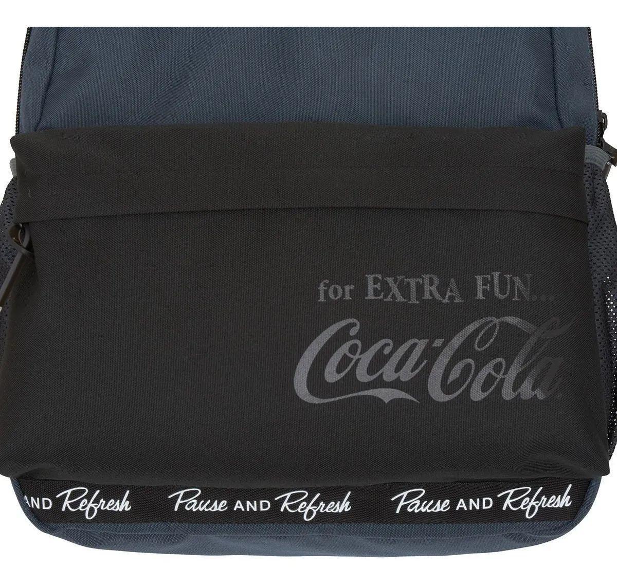 Kit Mochila Costas Coca Cola Flat + Estojo Original Cor:Preto