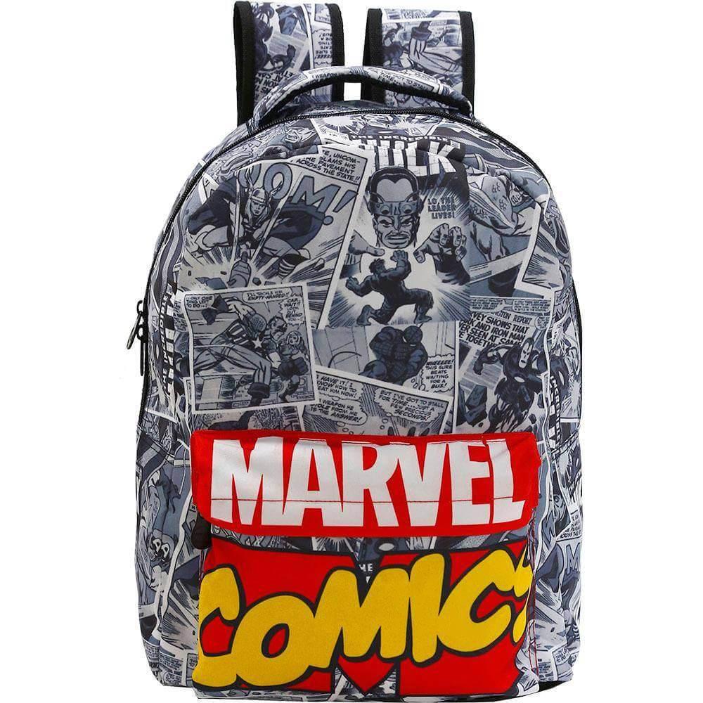 Kit Mochila Quadrinhos Marvel Comics Cinza Original + Estojo