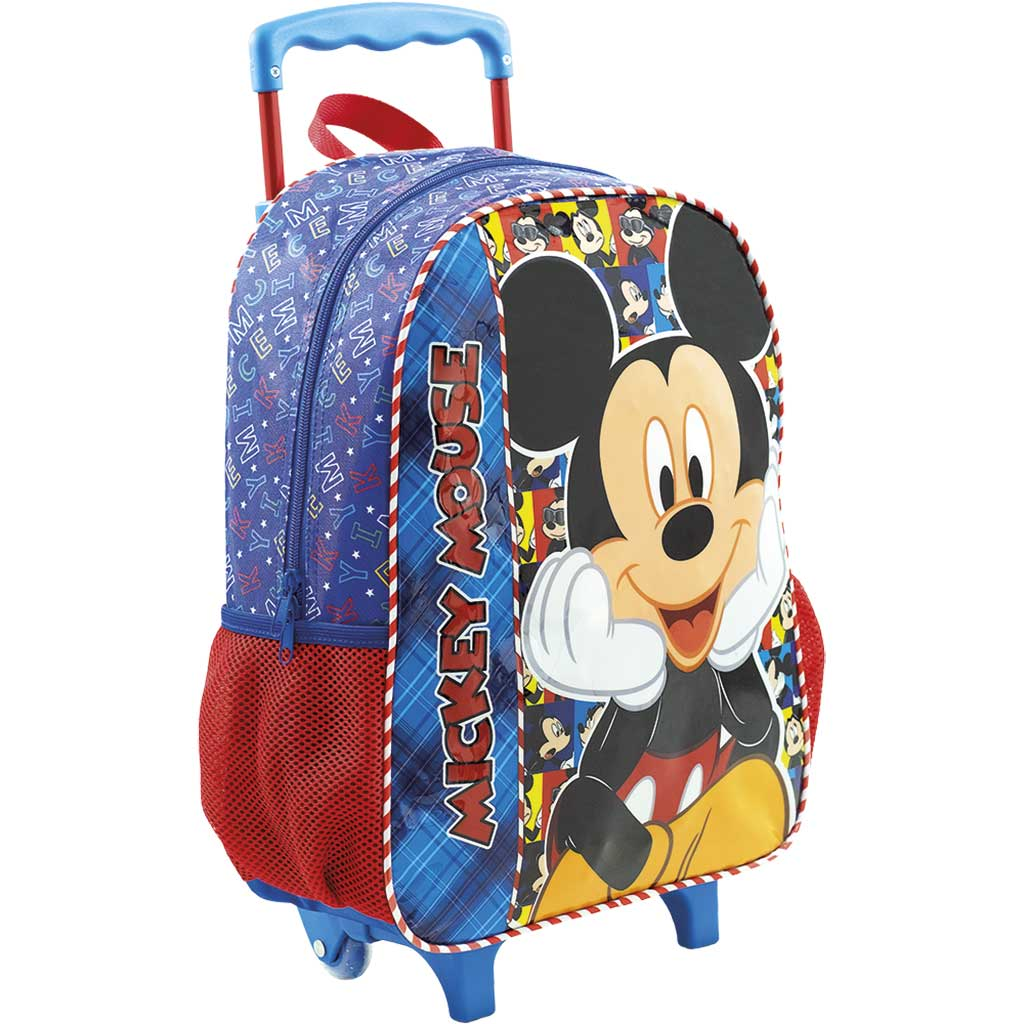 Kit Mochila Rodinha Lancheira Estojo Duplo Mickey Disney