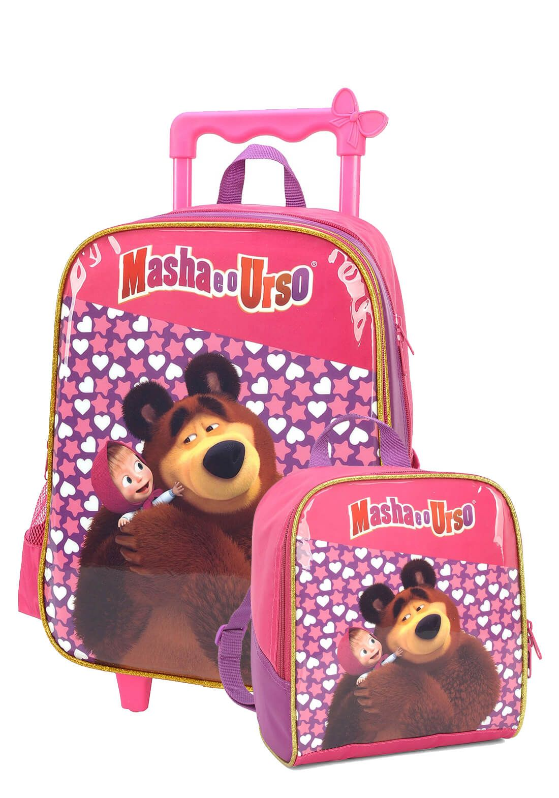 Kit Mochila Rodinha + Lancheira Masha e o Urso Roxo Original
