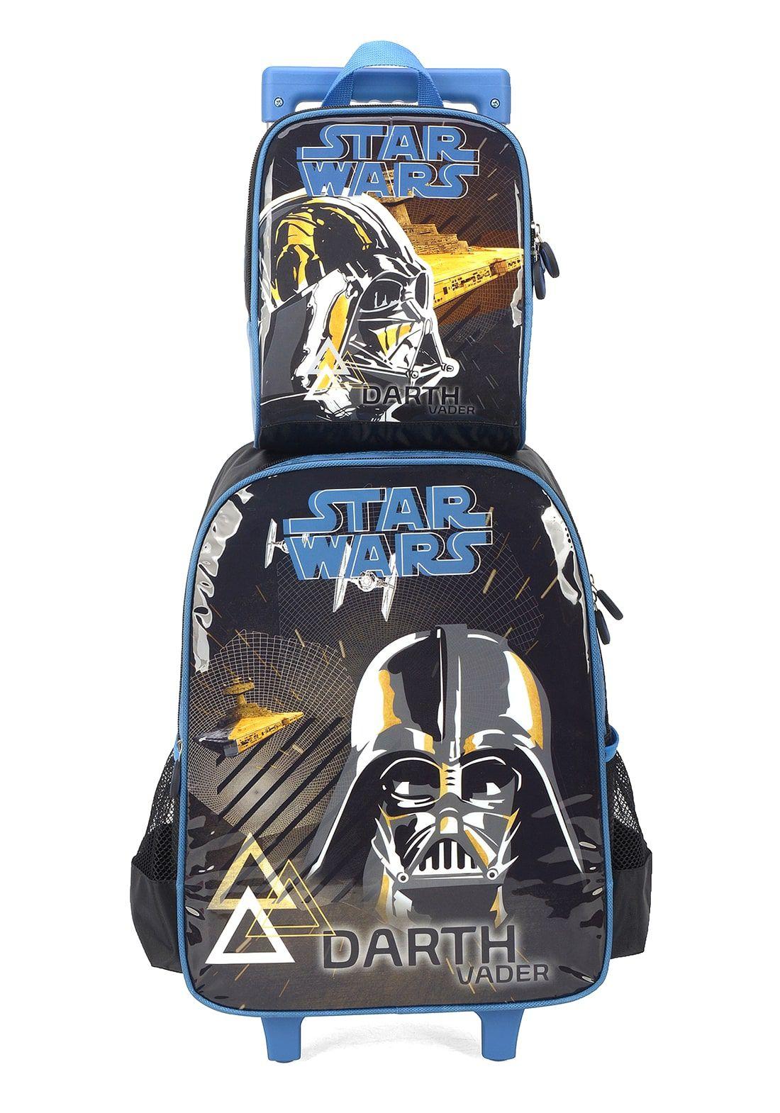 Kit Mochila Rodinha + Lancheira Star Wars Azul Darth Vader