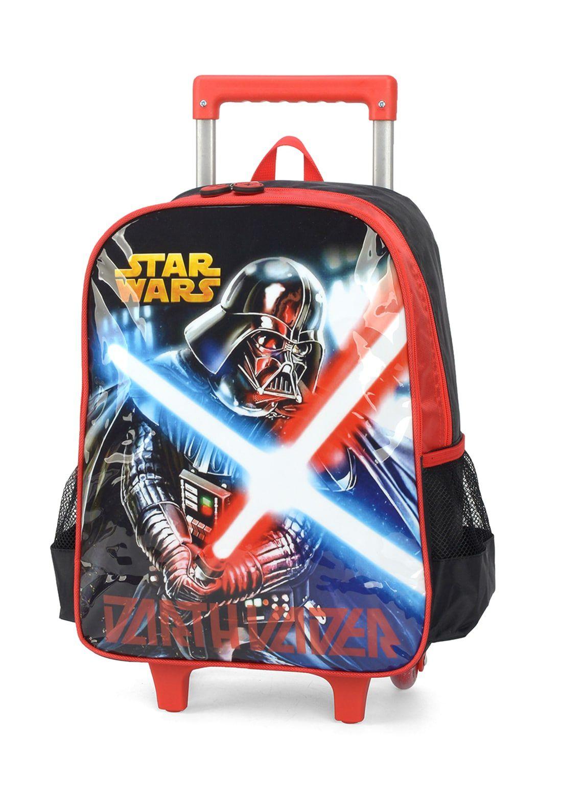 Kit Mochila Rodinha + Lancheira Star Wars Vermel Darth Vader