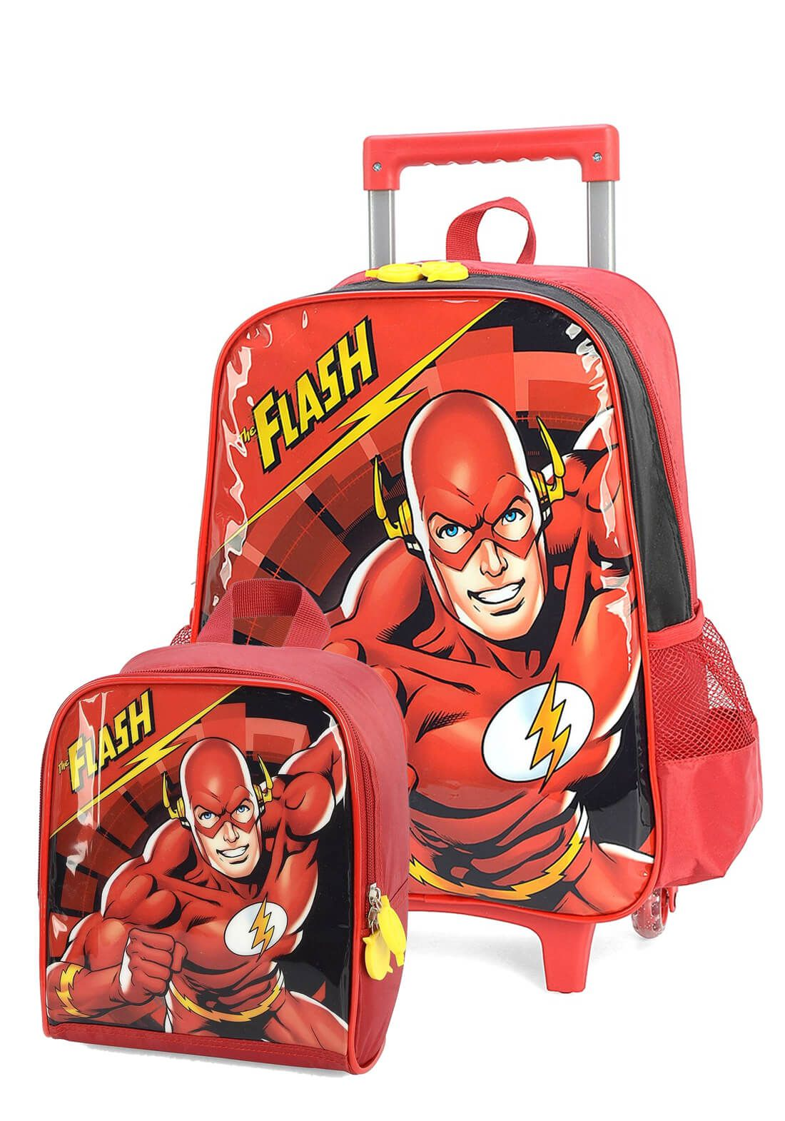 Kit Mochila Rodinha + Lancheira The Flash Preta Original