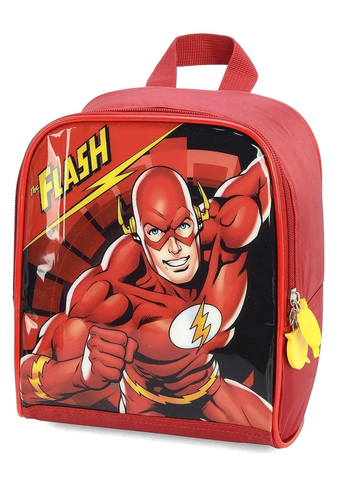 Kit Mochila Rodinha + Lancheira The Flash Vermelho Original