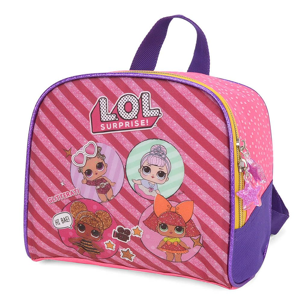 Kit Mochila Rodinhas LOL Surprise + Lancheira Térmica Pink