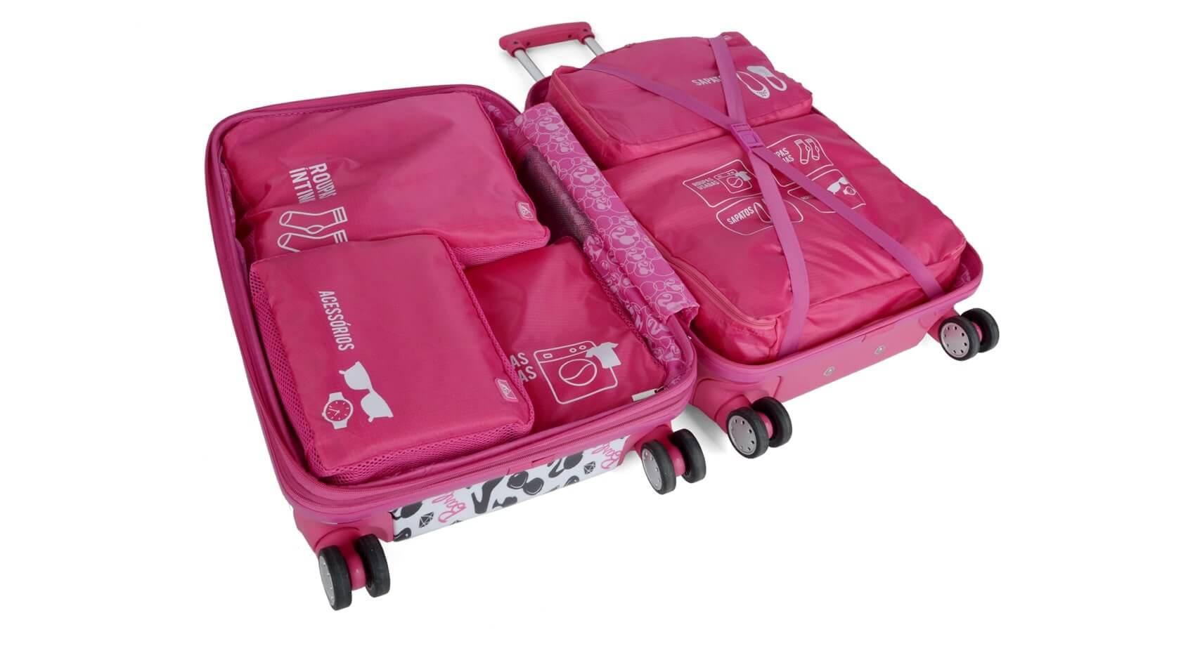 KIT Organizador de Bagagem Mala Viagem Rosa 5 pçs Necessaire