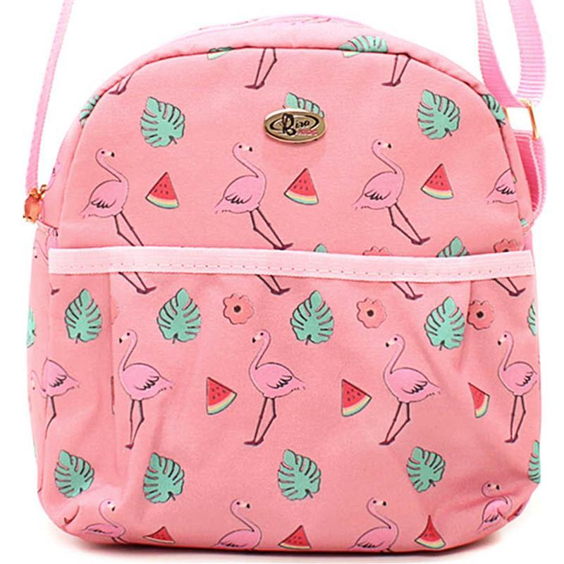 Lancheira Bolsa Térmica Transversal Flamingos  Rosa