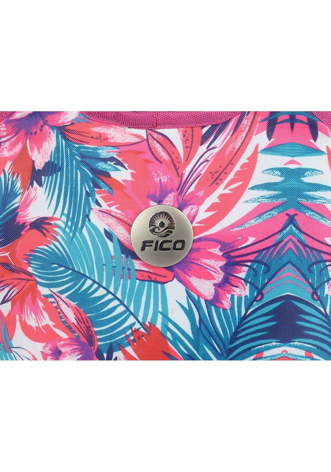 Lancheira Bolsa Térmica Neoprene Alça Transversal FICO Estampa Rosa e Azul