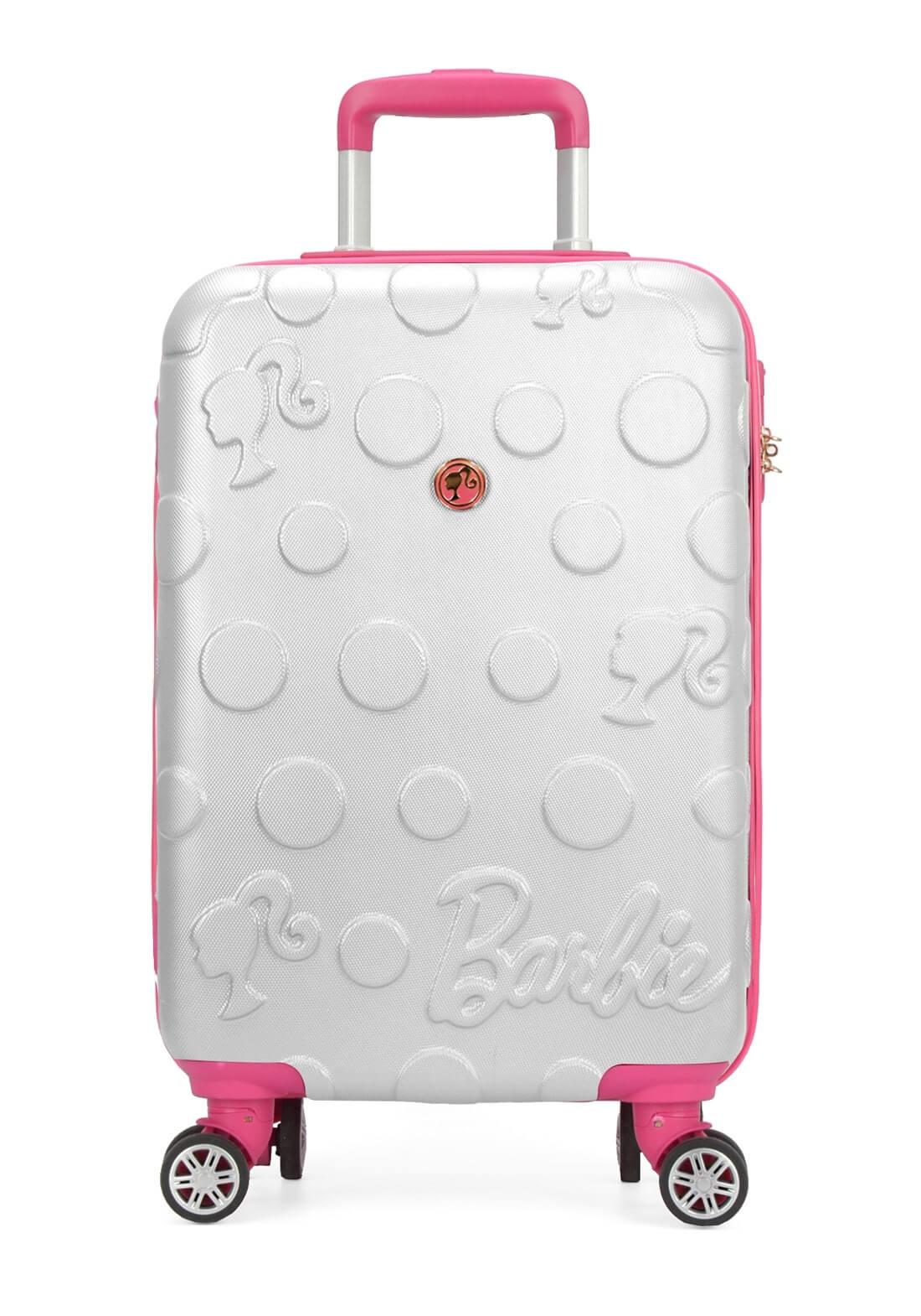 Mala Barbie Pequena Rígida Prata Original Giro 360 Cadeado