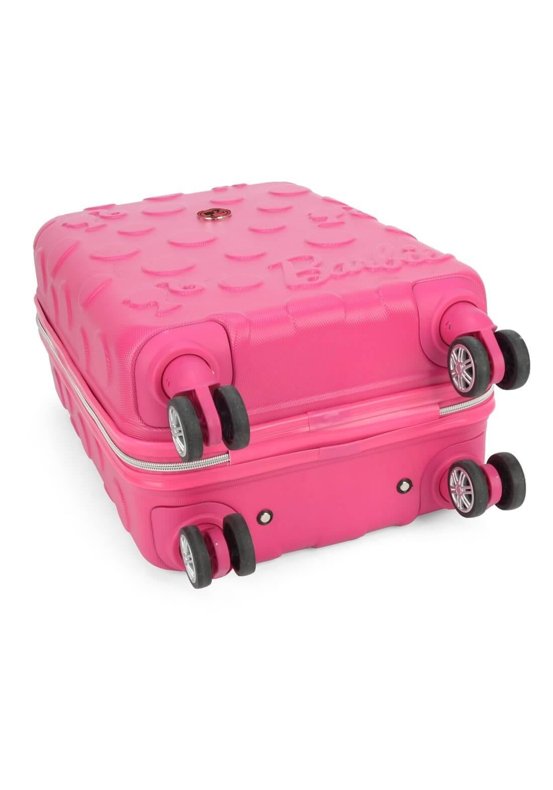 Mala Barbie Pequena Rígida Rosa Original Giro 360  Cadeado