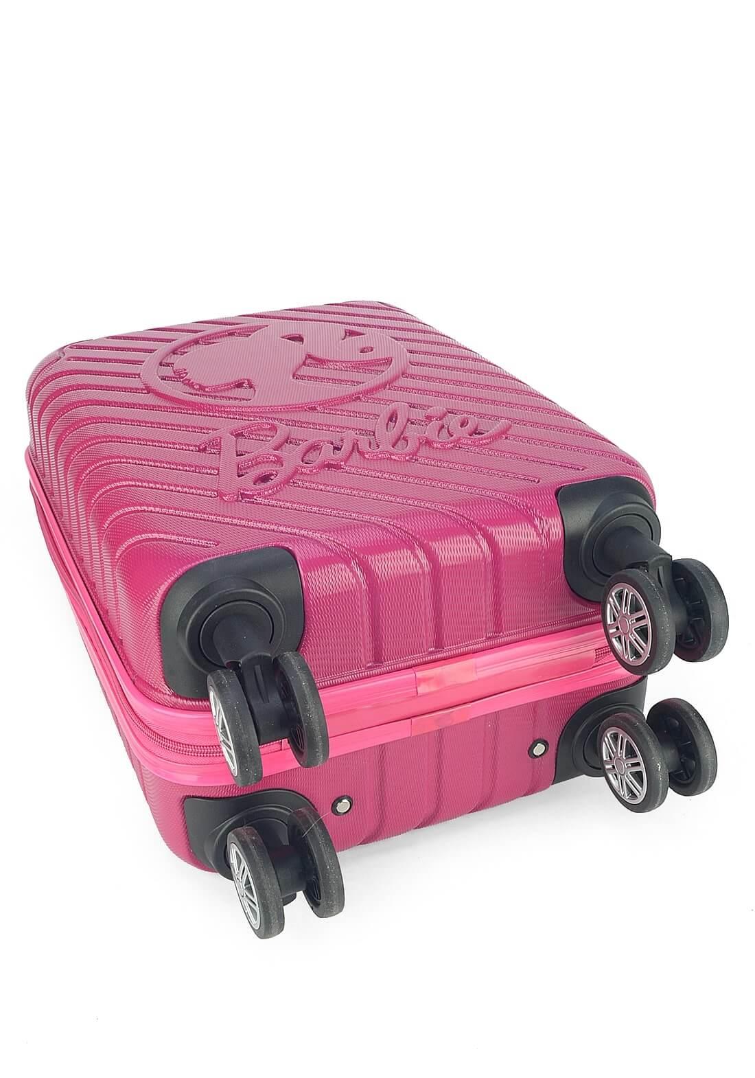 Mala Barbie Rígida Pequena Rodas Duplas 360 Rosa Original