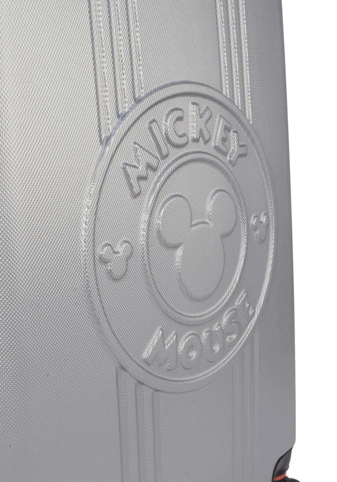 Mala De Viagem Rígida Mickey Mouse Prata Pequena Original