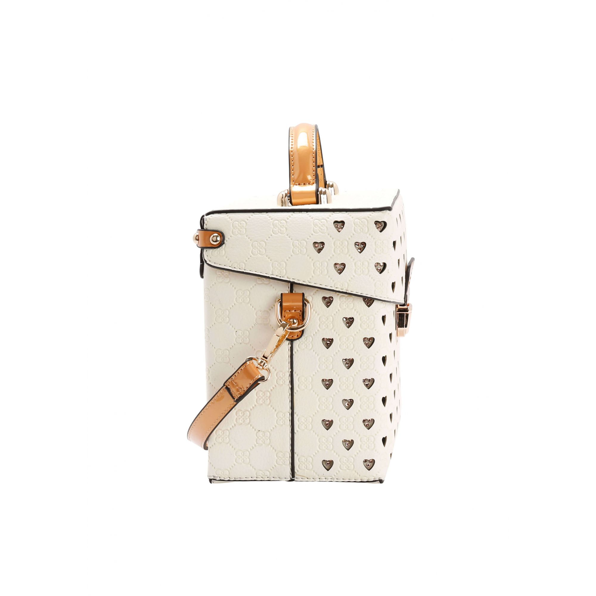Mini Bolsa Chenson Quadrada Pedrinhas Monograma Off-White