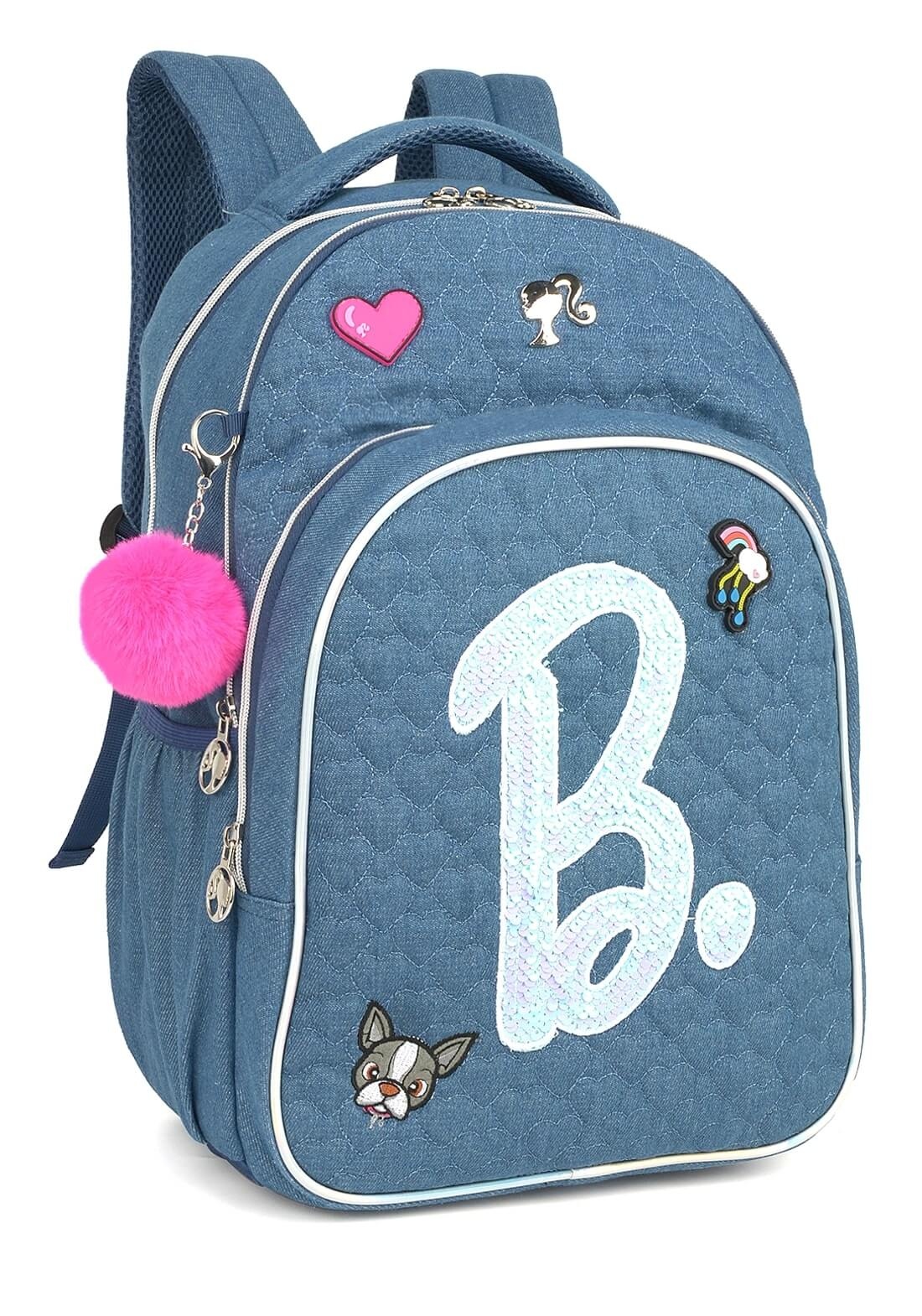 Mochila Barbie Notebook Azul Chaveiro Pom Pom Original NF
