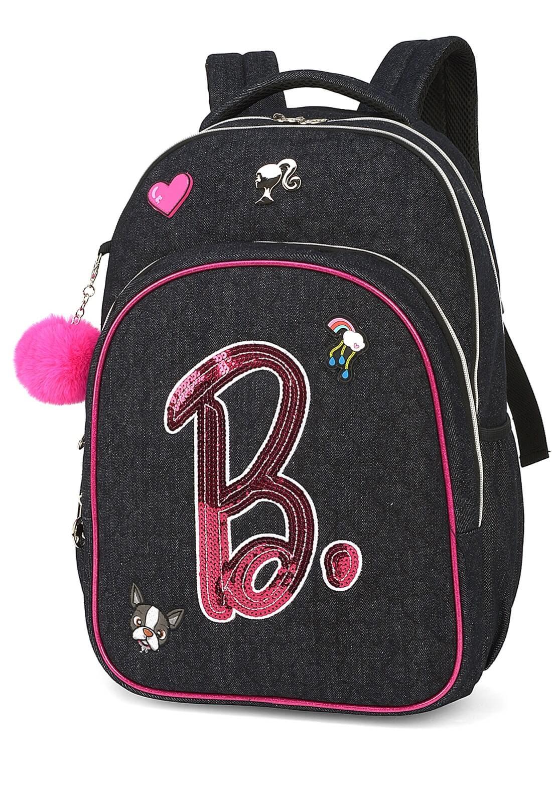 Mochila Barbie Notebook Preta Chaveiro Pom Pom Original NF