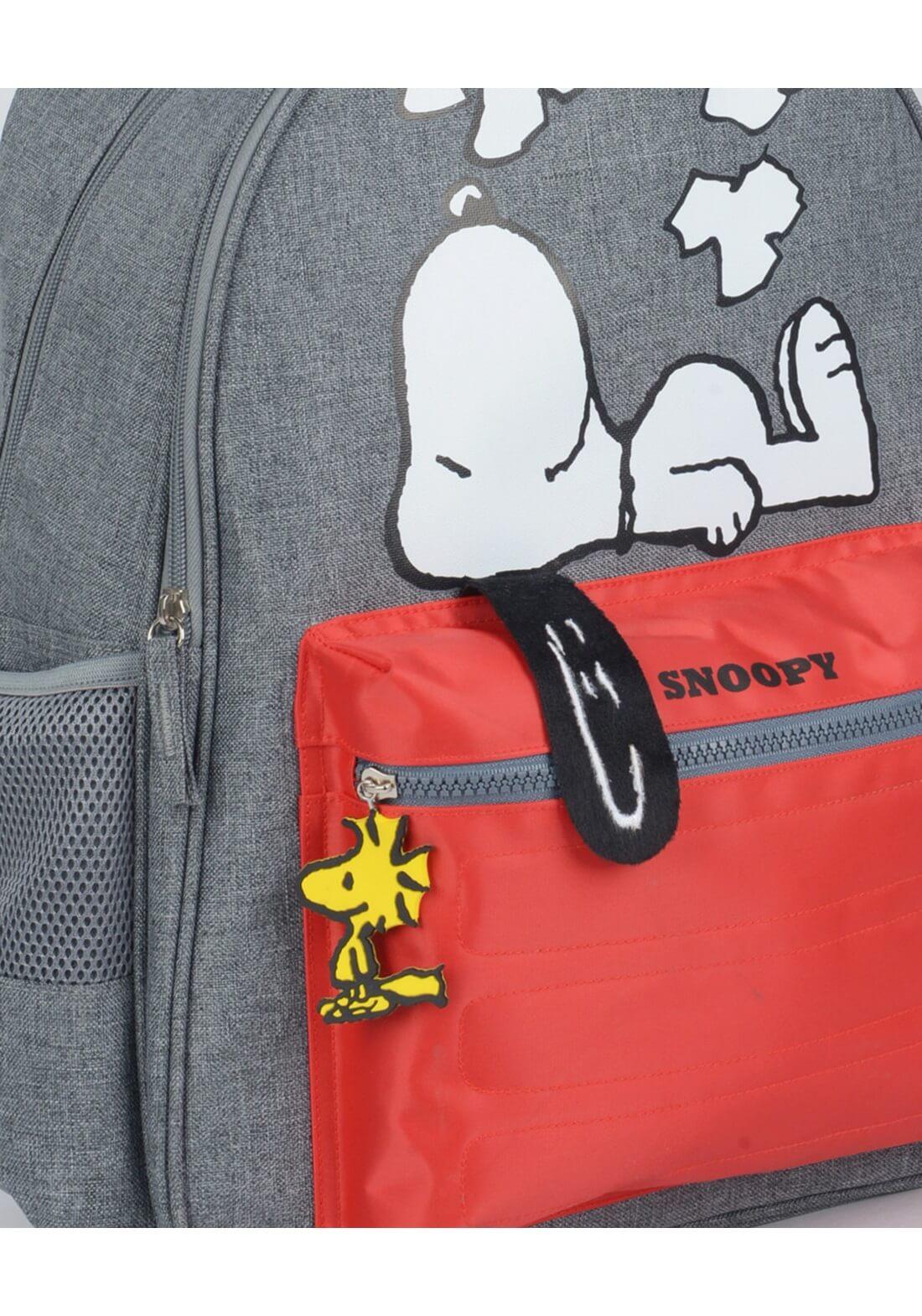 Mochila De Costas Snoopy Orelhinha Cinza Vermelha